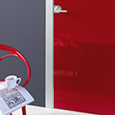 filo a filo - door code J-31 red polished glass- aluminium casings- Hoppe handle