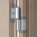 Portek patented hinge in aluminium finish - it allows the in-plane and side-to-side adjustment