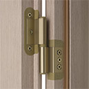 Portek patented hinge in bronze finish - it allows the in-plane and side-to-side adjustment